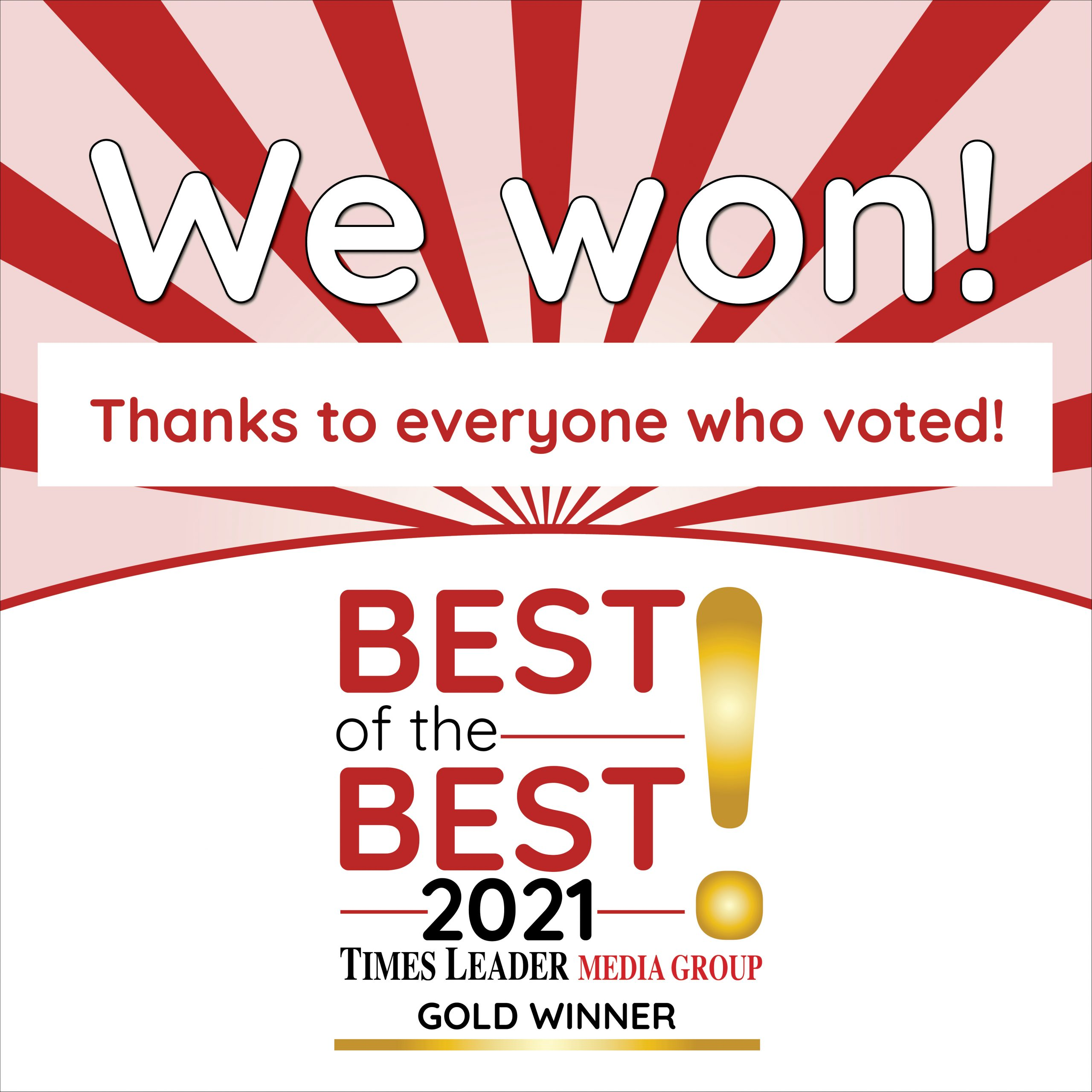 Dr. Brown won the Gold and LVDA won the Silver in the Times Leader Best of the Best Promotion